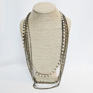 Jewelry - Multi Strand Chain & Pearl Necklace Gold & Silver